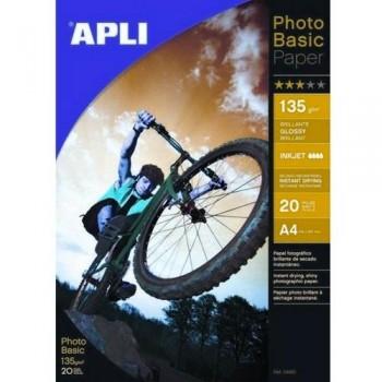 PAPEL FOTO A4 135 GR. 20 HOJAS PHOTOBASIC BRILLANTE PARA INKJET EXTRA BLANCO APLI