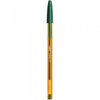Bolígrafo tinta aceite punta 0,8mm verde Bic Cristal Fine ESENCIALES