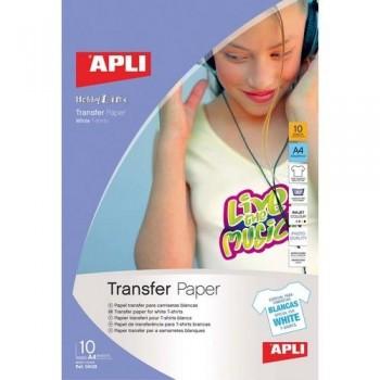 PAPEL TRANSFER A4 PARA CAMISETA BLANCA 10H APLI