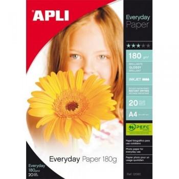 Papel foto A4 180 gr. 20 hojas brillante Everyday Apli ESENCIALES