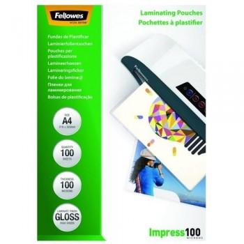FUNDA PLASTIFICAR A4 100 MICRAS BRILLO 100 FELLOWES