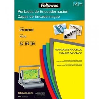 TAPAS ENCUADERNAR FELLOWES A4 PVC ROJO OPACO