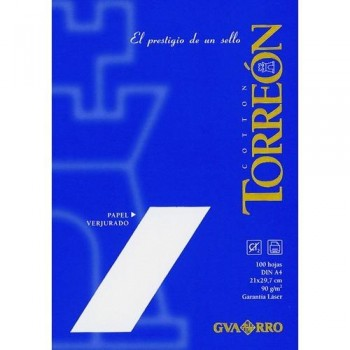 PAPEL VERJURADO A4 90G 100 HOJAS COLOR BLANCO TORREON  GUARRO