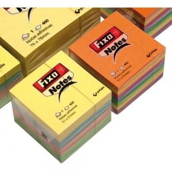 Notas adhesivas de colores en cubo 400h 51x51mm pastel Fixo ESENCIALES