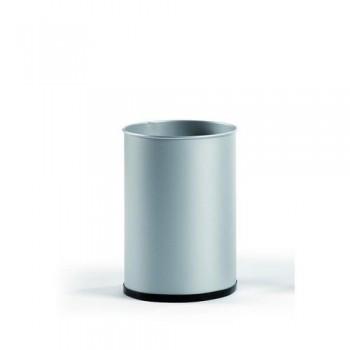 Papelera metálica 12 l. 31,5x21,5 cm. Plata. ESENCIALES