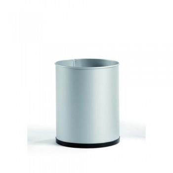 Papelera metálica 16 l. 31,5x25,5 cm. Plata. ESENCIALES