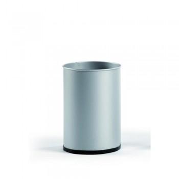Papelera metálica 27 l. 39,5x29,5 cm. Plata. ESENCIALES