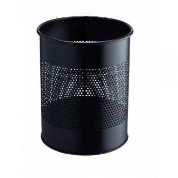 Papelera metálica redonda  15/P 165 - 15 litros - perforada Durable negra ESENCIALES