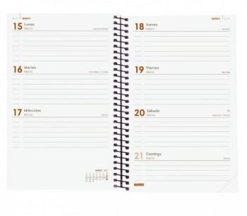 Agenda espiral S/V E5 117x181mm Opaque burdeos catalán Finocam