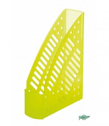 Revistero plástico transparente fluor amarillo 320x245x75mm Faibo ESENCIALES