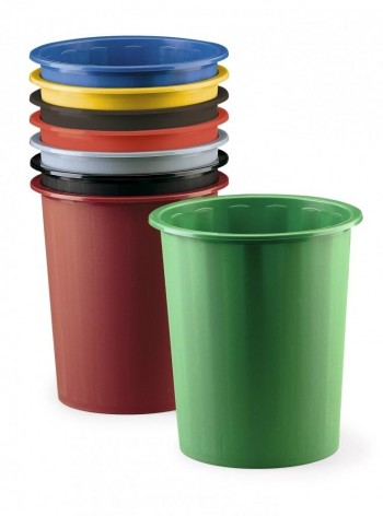 Papelera plástico 14l Faibo 6u colores surtidos ESENCIALES