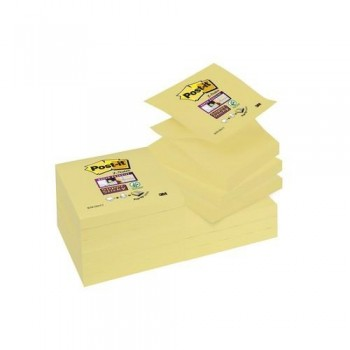 NOTAS ADHESIVAS Z-NOTAS SUPER STICKY 76X76 MM. PACK DE 12 BLOCS COLOR AMARILLO CANARIO POST-IT