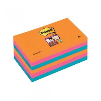 NOTAS ADHESIVAS SUPER STICKY 76X127 COLORES BANGKOK PACK DE  6 BLOCS POST-IT