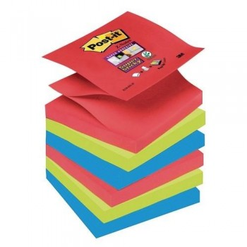 NOTAS ADHESIVAS Z-NOTAS SUPER STICKY 76X76 MM. PACK DE 6  BLOCS COLORES BORA BORA 90 HOJAS/BLOC POST