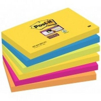 NOTAS ADHESIVAS SUPER STICKY 76X127 MM 6 BLOCS X 90HOJAS RÍO DE JANEIRO POST-IT