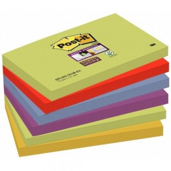 NOTAS ADHESIVAS SUPER STICKY 76X127 MM 6 BLOCS X 90HOJAS MARRAKESH POST-IT