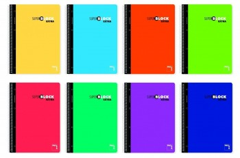 Cuaderno espiral A5 120 hojas 90gr. 5x5 + GRECA Super Block Extra Pacsa surtidos *