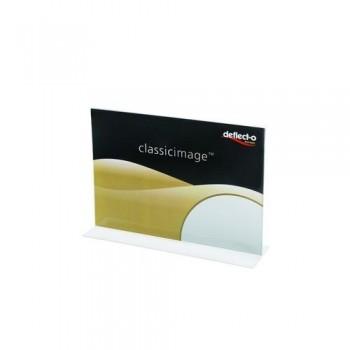 Portacartel sobremesa en T A4 horizontal Deflecto ESENCIALES