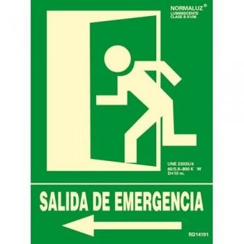 SE?AL PVC NORMALIZADA   SALIDA DE EMERGENCIA IZQUIERDA    FOTOLUMINISCENTE 224X300MM ARCHIVO 2000