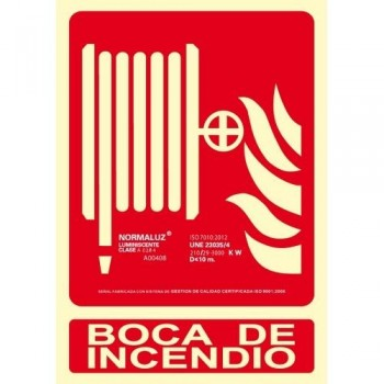 SE?AL PVC NORMALIZADA   BOCA DE INCENDIO    FOTOLUMINISCENTE 210X300MM ARCHIVO 2000