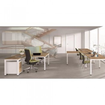 MESA 120X60 CM. ESTRUCTURA BLANCA TABLERO ROBLE SERIE EXECUTIVE ROCADA