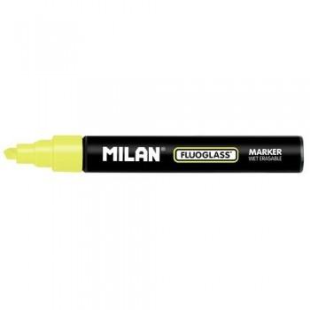 Marcador tiza líquida punta biselada 2-4mm amarillo Fluoglass Milan ESENCIALES