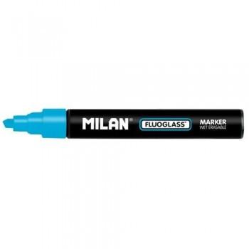Marcador tiza líquida punta biselada 2-4mm azul Fluoglass Milan ESENCIALES