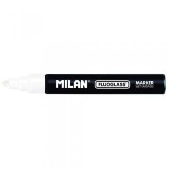 Marcador tiza líquida punta biselada 2-4mm blanco Fluoglass Milan ESENCIALES