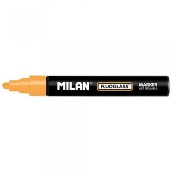 Marcador tiza líquida punta biselada 2-4mm naranja Fluoglass Milan ESENCIALES
