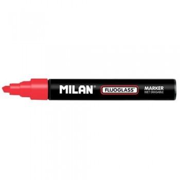 Marcador tiza líquida punta biselada 2-4mm rojo Fluoglass Milan ESENCIALES