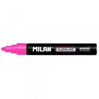 Marcador tiza líquida punta biselada 2-4mm rosa Fluoglass Milan ESENCIALES