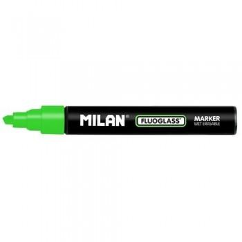 Marcador tiza líquida punta biselada 2-4mm verde Fluoglass Milan ESENCIALES