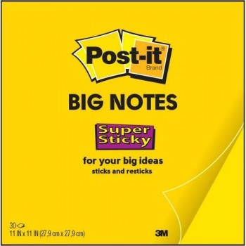 NOTAS ADHESIVAS SUPER STICKY 4XL 279X279MM BLOC 30 HOJAS AMARILLAS POST-IT