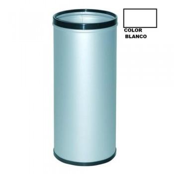 PARAGÜERO METÁLICO CON AROS SUPERIOR E INFERIOR EN PVC BLANCO