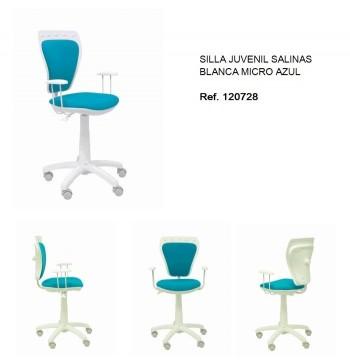 SILLA JUVENIL SALINAS BLANCA MICRO AZUL