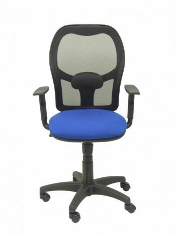 Silla oficina Alocén malla negra asiento bali azul brazos regulables ESENCIALES