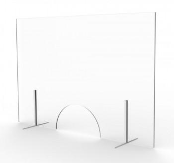 Mampara protección mostrador 60x91 cm y 6 mm CRISTAL con ventanilla ESENCIALES