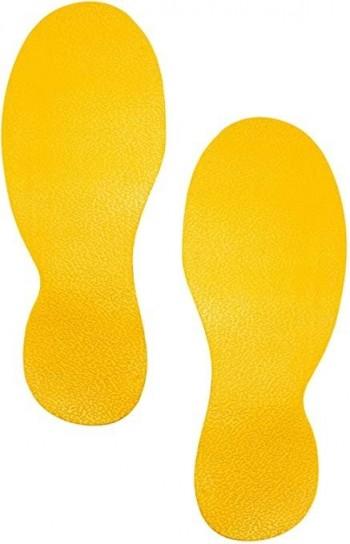 Señal adhesiva suelo amarilla pack 1 x 6 x 100 cm y 10 huellas ESENCIALES