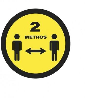 Señal adhesiva suelo amarilla: distancia 2 m (5 unidades) ESENCIALES