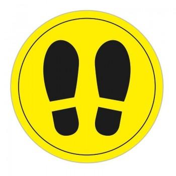 Señal adhesiva suelo amarilla dos pies (5 unidades) ESENCIALES