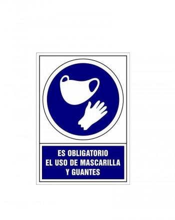 Placa PVC de obligación Uso mascarilla y guantes ESENCIALES