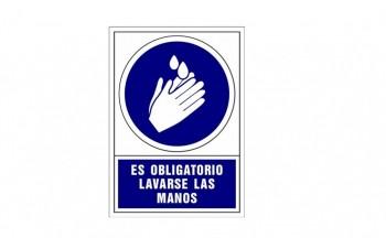 Placa PVC de obligación Lavar las manos ESENCIALES