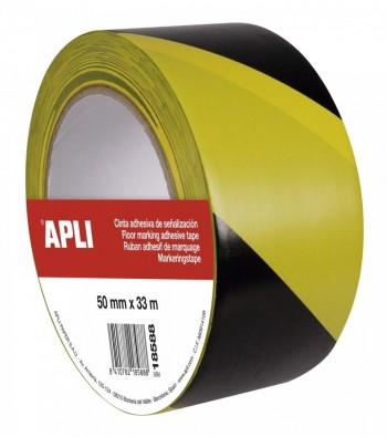 Cinta  de señalización de PVC solvente amarillo y negro 50 mm x 33 m 160 ?m ESENCIALES