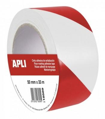 Cinta  de señalización de PVC solvente rojo y blanco 50 mm x 33 m 160 ?m ESENCIALES