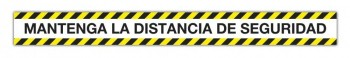 Tira de señalización adhesiva \cMantenga la distancia de seguridad\c PVC amarillo y negro 100 x 10 c