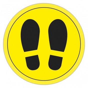 Círculo  de señalización para suelo PVC amarillo y negro 30 cm ESENCIALES