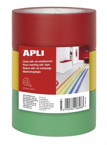 Pack 2 cintas adhesivas de señalización PVC rojo 40 mm x 33 m 160 ?m ESENCIALES