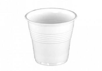 Vaso plástico 220cc blanco PP 2,3gr, caja 30 packs 100 un. (3000 vasos)
