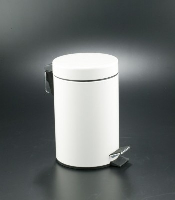 Cubo pedal 5l inoxidable blanco