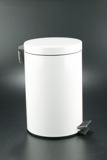 Cubo pedal 12l inoxidable blanco